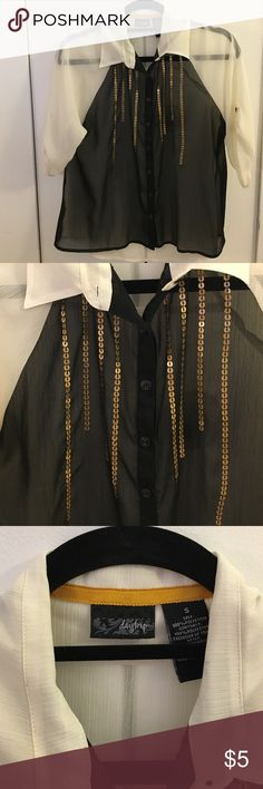 Daytrip two-tone sheer blouse Daytrip blouse from Buckle. Size small. I let and black two-tone. Great gold sequin detail. Easy to dress up or down. Daytrip Tops Blouses