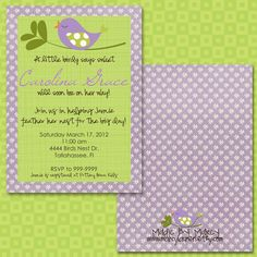Baby Bird (purple and green) baby shower Baby Shower Party Ideas | Photo 1 of 18 | Catch My Party
