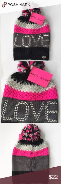 New🍂Love Betsey Colorblock Beanie Cute black, white and bright pink beanie by Betsey Johnson. The white band around the top has silver metallic stitching. Clear studded LOVE. 95% acrylic, 3% poly, 1% nylon & 1% metallic. Hand wash cold, lay flat to dry. NWT Betsey Johnson Accessories Hats