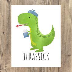 Jurassick Punny Sick Dinosaur Digital 8x10 by ALittleLeafy on Etsy