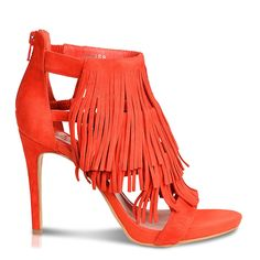 Roberto Durville Paris - Badiaa -Women's Coral Suede High-Heel Fringe Sandals 39 M EU ** You can find out more details at the link of the image.