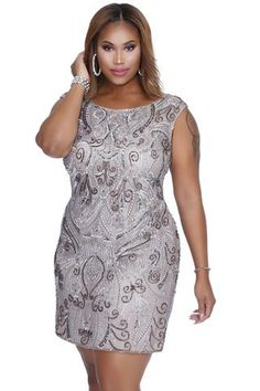 79194eeac24bf Kurves By Kimi Lead Embellished Short plus size cocktail dress front view Plus  Size Cocktail Dresses
