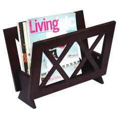 Wood magazine rack with latticework detail.   Product: Magazine rackConstruction Material: WoodColo...