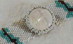 Free Form Peyote Stitch Beaded Bracelet   Two Face Moon by Cheri C Meyer, $150.00