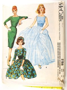 McCall's 5186 Misses 1950s Evening Gown by VtgSewingPatterns, $25.00
