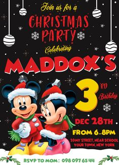 #birthdayinvitation #christmas #christmasdinner #christmasinvitation #christmasinvite #christmasparty #christmasprintable #mickeymouse #mickeymousebirthday #MickeyMouseChristmas #MickeyMouseInvitation #mickeymouseinvite #mickeymouseparty Mickey Mouse Birthday Invitations, Minnie Birthday, Christmas Birthday Party, Mickey Mouse Christmas, Party Printables, Decoration, Boys, Ideas, Decor