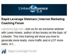 LinkedIn webinars for rapid leverage - coaching forum