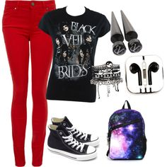 1st day of school outfit for emo, goth, or punks by danielleyazzie on Polyvore featuring polyvore, fashion, style, Paige Denim, Converse, MOJO, ASOS and PhunkeeTree