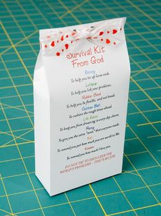 Survival kit from God. Might have the Sunday school class make these to pass out to church members Object Lessons, Bible Lessons, Homemade Gifts, Diy Gifts, Visiting Teaching, Church Crafts, Sunday School Crafts, Bible Crafts, Prayer Crafts