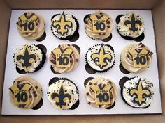 New Orleans Saints Birthday Cupcakes by Cutie Cakes WY, via Flickr