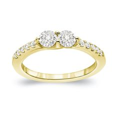 Auriya 14k Gold 1ct TDW 2-Stone Round Cut Diamond Engagement Ring (J-K, I1-I2) (White Gold - Size 9), Women's