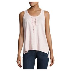 W By Wilt Ruffled Cotton Scoop Tank, Pale Pink ($59) ❤ liked on Polyvore featuring tops, pink racerback tank, cotton racerback tank, scoop neck top, racer back tank and racer back tank top