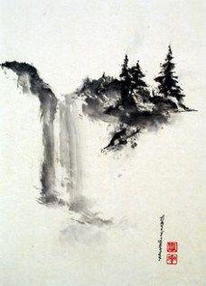 Title - Serenity Sumi-e Japanese ink Painting Japanese Ink Painting, Sumi E Painting, Japanese Watercolor, Chinese Landscape Painting, Japanese Landscape, Sakura Painting, Japon Illustration, Tinta China, China Art