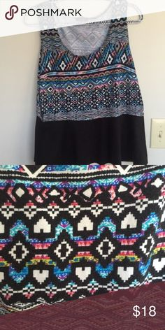 Deb Shop Peplum Aztec Print Top Aztec print too with black fare from Deb Shops. Very comfortable. Nothing wrong with it. Deb Tops
