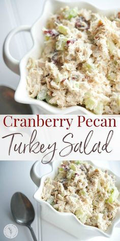 leftover roasted turkey by making this Cranberry Pecan Turkey Salad using sweet dried cranberries and rich, buttery pecans. Utilize leftover roasted turkey by making this Cranberry Pecan Turkey Salad using sweet dried cranberries and rich, buttery pecans. Easy Leftover Turkey Recipes, Leftover Turkey Casserole, Leftovers Recipes, Lunch Recipes, Salad Recipes, Cooking Recipes, Turkey Leftovers, Turkey Dishes, Turkey And Dumplings