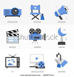 Flat Icons Set.Online Movies, Post Production, Film and Television Collection.Isolated Objects in a Modern Style for Your Design. - stock vector