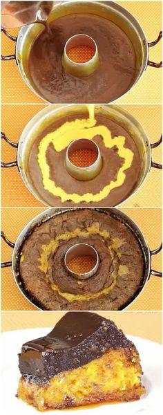 Aprendi essa receita no meu curso de culinária e foi a melhor coisa da vida! Você vai amar também... #bolodecenoura #brigadeiro #bolodecenouracombrigadeiro