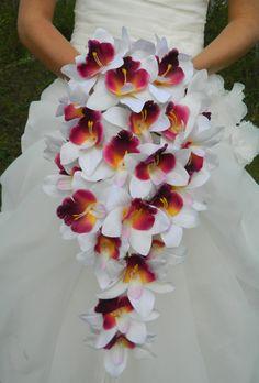 Orchid Bouquet, Cascade, purple, plum, lavender, white, cymbidium orchid, bride, bridal, waterfall. $45.00, via Etsy.