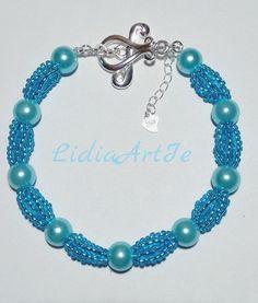 Beaded braceletpearl bracelet blue braceletelegant braslet