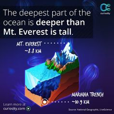 The deepest part of the ocean is  deeper than Mt. Everest is tall.