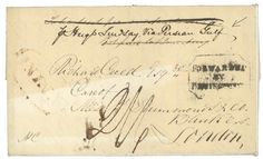 """Via PERSIAN GULF"" : 1839 FORWARDED BY REMINGTON + INDIA + ""VIA PERSIAN GULF"" on disinfected cover with full text datelined ""CAMP QUETTAH"" to ENGLAND. Very scarce. Vf.    Dealer  Lugdunum    Auction  Minimum Bid:  600.00 EUR"