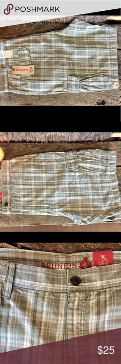NWT- Men's Reunion Cargo Shorts NWT- Men's Reunion Cargo Shorts. Green & Cream plaid. Size 40 Will accept best offer Reunion Shorts Cargo