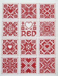 Scandinavian red and white squares - great for biscornu