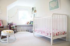 A Modern, Colorful, Cheerful Toddler Room - Project Nursery Nursery Dark Furniture, Nursery Room Decor, Project Nursery, Nursery Ideas, House Of Turquoise, Baby Nook, Nursery Modern, White Nursery, White Paint Colors