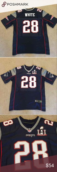 PATRIOTS Football Jersey Super Bowl 51 WHITE #28 Brand new with tags! Fast shipping! New England Patriots White Football Jersey #28 blue Super Bowl 51 (superbowl). Men's adult sizes: medium / 40 , large / 44 , extra large / XL / 48 , double extra large / XXL / 2XL / 52 , triple extra large / XXXL / 3XL / 56 ... I also have soccer jerseys for sale and Brady , gronkowski , Edelman ... feel free to ask questions or for sizing Shirts Tees - Short Sleeve