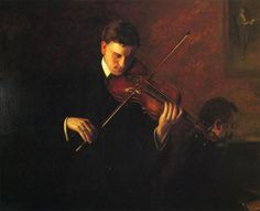 Music (1904). Thomas Eakins (American, 1844–1916). Oil on canvas. Albright-Knox Art Gallery, Buffalo, NY. Eakins literally juxtaposed his own painting with Whistler's in Music (1904), which shows a violinist and pianist in performance. Eakins reproduces Whistler's painting of the Spanish violinist Sarasate in the upper right corner of the painting. The juxtaposition of the two violinists emphasizes the difference in painting styles.