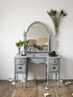 Love this dressing table in this blue gray color. Should I take the plunge and paint mine?
