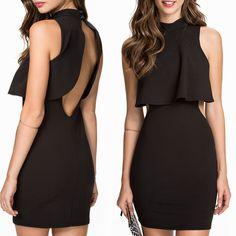 $29.99 Top Overlay High Neck Little Black Dress