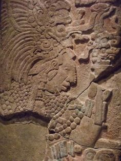 Wall panel depicting lady Bolon-K'an in ritual dress Mexico southern Maya lowlands Tabasco Pomona Late Classic period 790 CD Limestone and s.