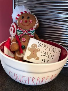 Rae Dunn Gingerbread Bowl Red Inside on Mercari Christmas Gingerbread Men, Gingerbread Decorations, Candy Christmas Decorations, Diy Christmas Ornaments, Christmas Candy, Christmas Themes, Holiday Fun, Holiday Ideas, Merry Christmas