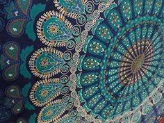 Bedspreads – Turquoise Blue Queen Size Mandala 84x54 – a unique product by IndianCraftPalace on DaWanda