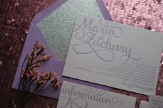 best selling wedding invitations, letterpress on metallic paper, purple and silver wedding invitations, glitter wedding invitations