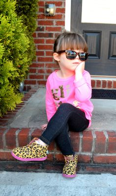 Toddler fashion.  A tiny fashionista rocking CrewCuts, Toms, and teeny wayfarers!