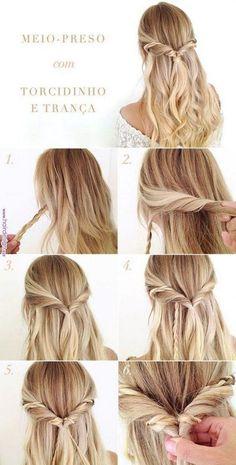Halbgebundenes Frisur-Tutorial mit Twist und Zopf - - Tutorial de penteado meio-preso com torcidinho e trança Haar-Zopf-und-Frisur - # Braids frisuren tutorial Halbgebundenes Frisur-Tutorial mit Twist und Zopf - Haare lieben Twist Hairstyles, Cool Hairstyles, Gorgeous Hairstyles, Simple Hairstyles For Long Hair, Wedding Hairstyles, Simply Hairstyles, Hairstyle Ideas, Simple Prom Hair, Graduation Hairstyles