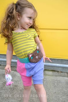 sew chibi: Shorts on the Line: Harlequin Sarousel shorts with Button on Kitty!