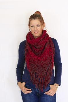 Fringe scarf, triangle scarf, boho chic scarf shawl, Calypso Fringe, in red and grey, winter fashion, ready to ship