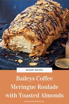 Baileys Coffee Meringue Roulade with Toasted Almonds Recipe Meringue Desserts, Meringue Recept, Sweet Recipes, Cake Recipes, Dessert Recipes, Roulade Meringue, Roulade Recipe, Baileys Recipes, Delicious Desserts