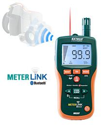 Extech MO297: Pinless Moisture Psychrometer with IR Thermometer and Bluetooth MeterLink™  8-in-1 Meter with Memory, Built-in IR Thermometer and Wireless Capability