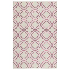 Bombay Home Indoor/Outdoor Laguna Ivory and Pink Geo Flat-Weave Rug (8' x 10') (8'0 x 10'0), Size 8' x 10' (Polyester, Geometric)