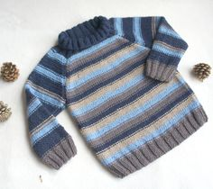 Boys sweater turtle neck,Hand knit boy sweater, wool boys jumper, multicolor blue knitted sweater, 3 years size by KsyuKnitting on Etsy Knit Baby Sweaters, Boys Sweaters, Baby Boy Knitting Patterns, Baby Knitting, Knit World, Crochet For Boys, Baby Vest, Children, Kids