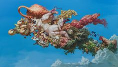 Chinese painter Fu Lei creates floating compositions with robust forms that defy physical laws. The rounded, voluptuous bodies of his human characters evoke the work of Flemish Baroque painter Pete… Hi Fructose, Macabre Art, Pop Surrealism, Modern Sculpture, Big Eyes, Oil On Canvas, Modern Art, Gallery, Painting