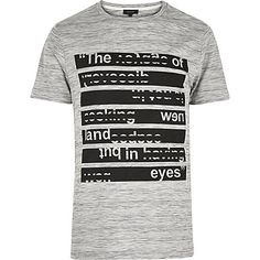 Grey texture slogan print t-shirt - £18 #RImenswear