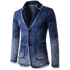 Casual Business Blue Suits Fashion Gradient Color Tassel Denim Washed... ($39) ❤ liked on Polyvore featuring men's fashion, men's clothing, men's sportcoats, blue, men suit & blazers, mens short sleeve blazer, mens single breasted blazer, mens slim fit blazers, mens blue blazer and mens slim blazer