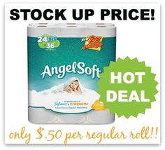 HOT DEAL: Angel Soft Toilet Paper Only $0.50 per Roll! http://www.couponcloset.net/hot-deal-angel-soft-toilet-paper-0-50-per-roll/?utm_campaign=coschedule&utm_source=pinterest&utm_medium=Carrie%20from%20CouponCloset.net%20(Coupons%20and%20Savings)&utm_content=HOT%20DEAL%3A%20Angel%20Soft%20Toilet%20Paper%20Only%20%240.50%20per%20Roll!