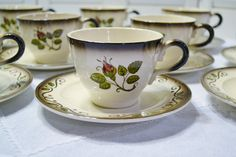 Vintage Metlox Poppytrail Provincial Rose Cup and Saucer California Pottery Bridal Baby Shower Panchosporch