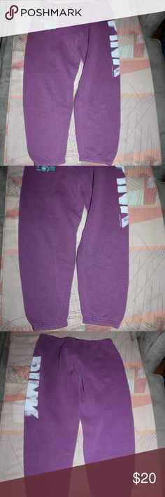 "TRUE PINK LOVE Victoria's Secret purple sweatpants PINK Victoria's Secret purple sweatpants- my favorite sweats- ""TRUE PINK LOVE"" in turquoise writing on top right of pants ""PINK"" in big white letters down the left leg size XS made in Sri Lanka.  In excellent pre loved condition, no rips/tears/stains/pilling they're just too small for me and ready for someone else to enjoy snuggling up in! PINK Victoria's Secret Pants"